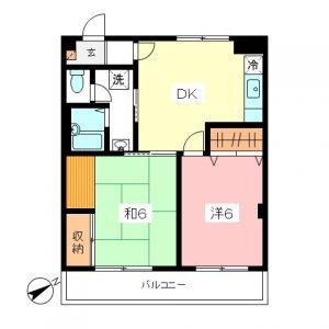 小田急線和泉多摩川駅徒歩2分、狛江市東和泉3丁目のオートロック付2DK賃貸マンション最上階の間取