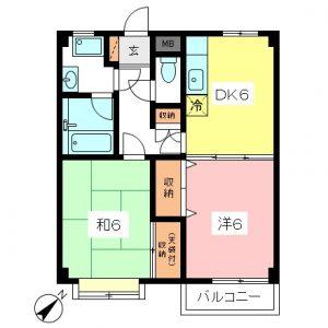 祖師ヶ谷大蔵駅徒歩10分世田谷区砧4丁目2DK賃貸マンション2号室間取図